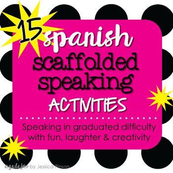 Spanish Scaffolded Grammar Speaking Activity Sheets Bundle How