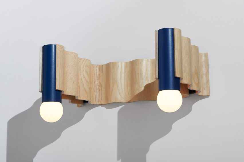 London Based Designers Tino Seubert And Theodora Alfredsdottir Combined Wavy Moulded Plywood With Of With Images Lighting Collections Wall Mounted Sconce Suspension Light