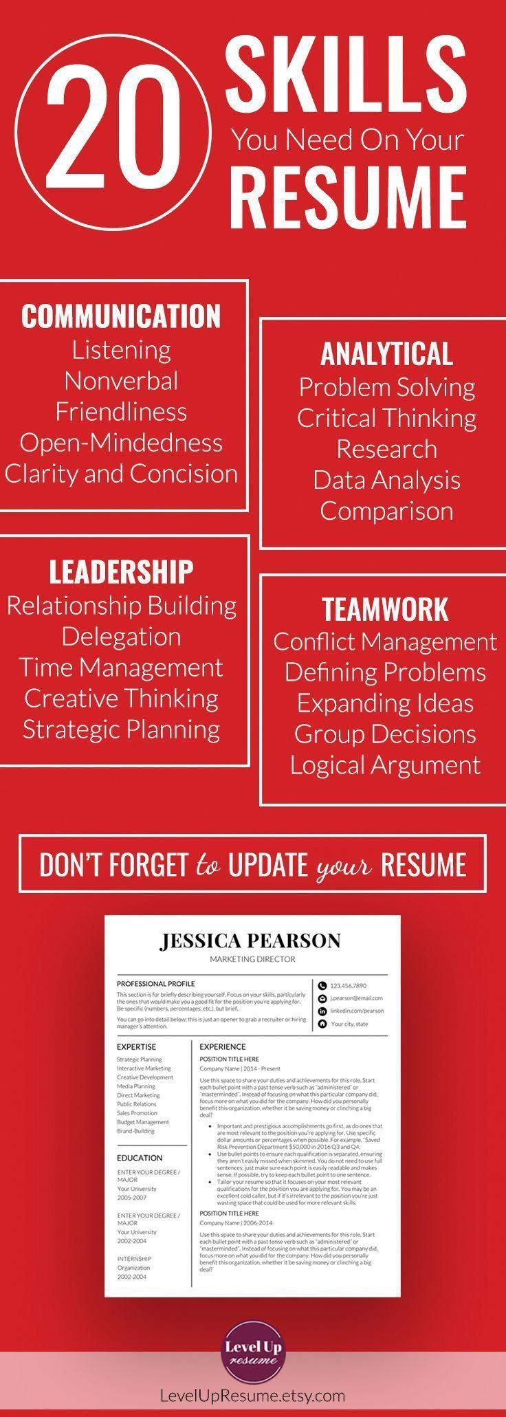 20 skills you need on your resume (Resume Tips, Career Advice) Follow the link f...