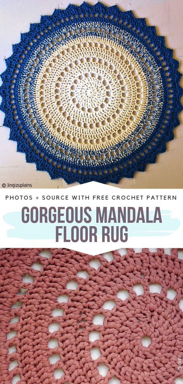 Awesome Mandala Rugs Free Crochet Patterns #crochetmandalapattern