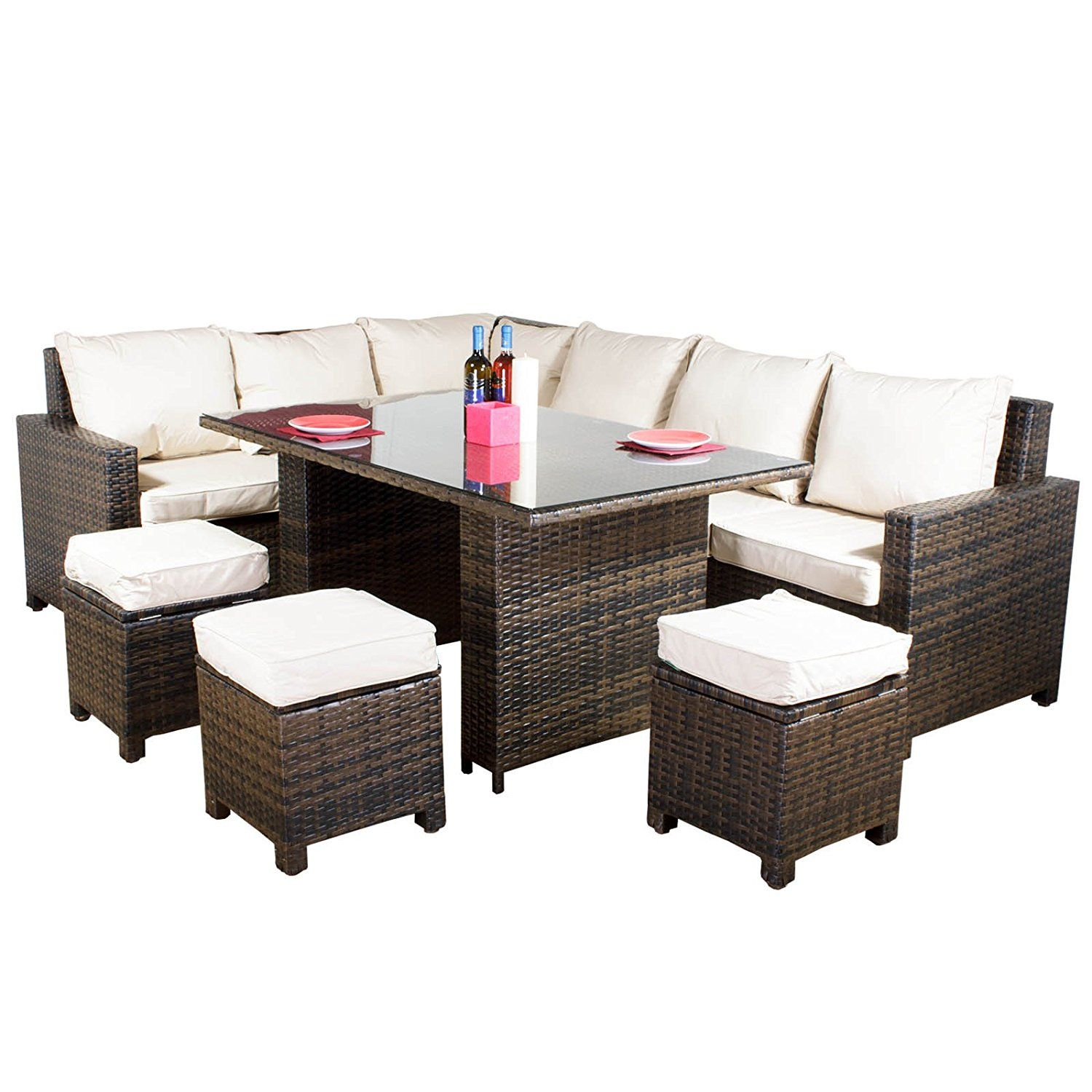 Best Great Value Oseasons Morocco Flex Eight Seater Sofa Dining Set Brown Amazon Co Uk … Patio 400 x 300