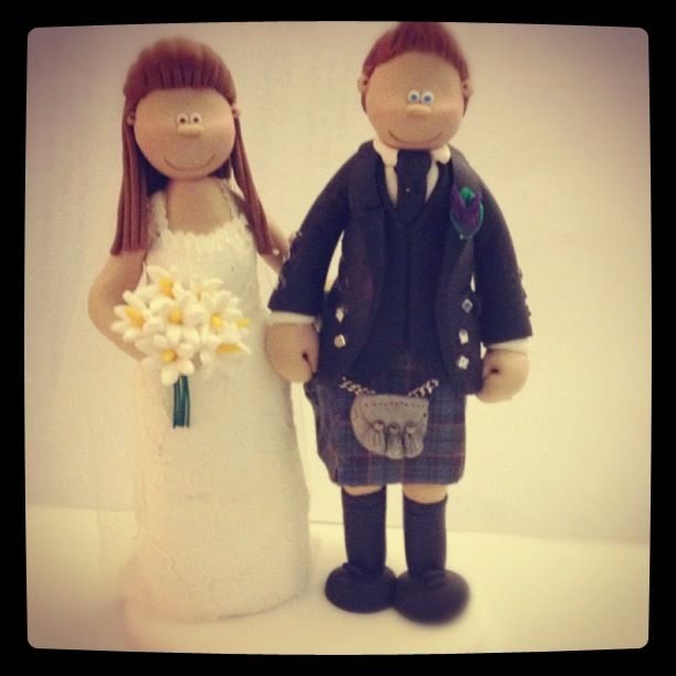 And the front view of a Scottish wedding cake topper! personalised ...