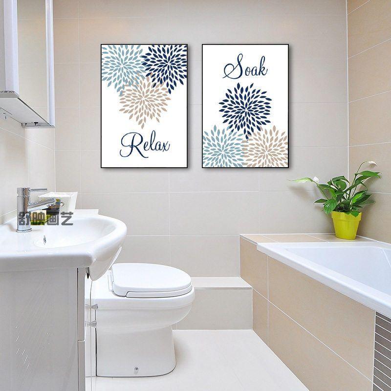 Bathroom Decor Bathroom Wall Art Canvas Prints Relax Soak Floral Flower Bathroom Art Bathroom Quote Wall Art Dh2648 Bathroom Wall Art Painting Bathroom Walls Bathroom Art