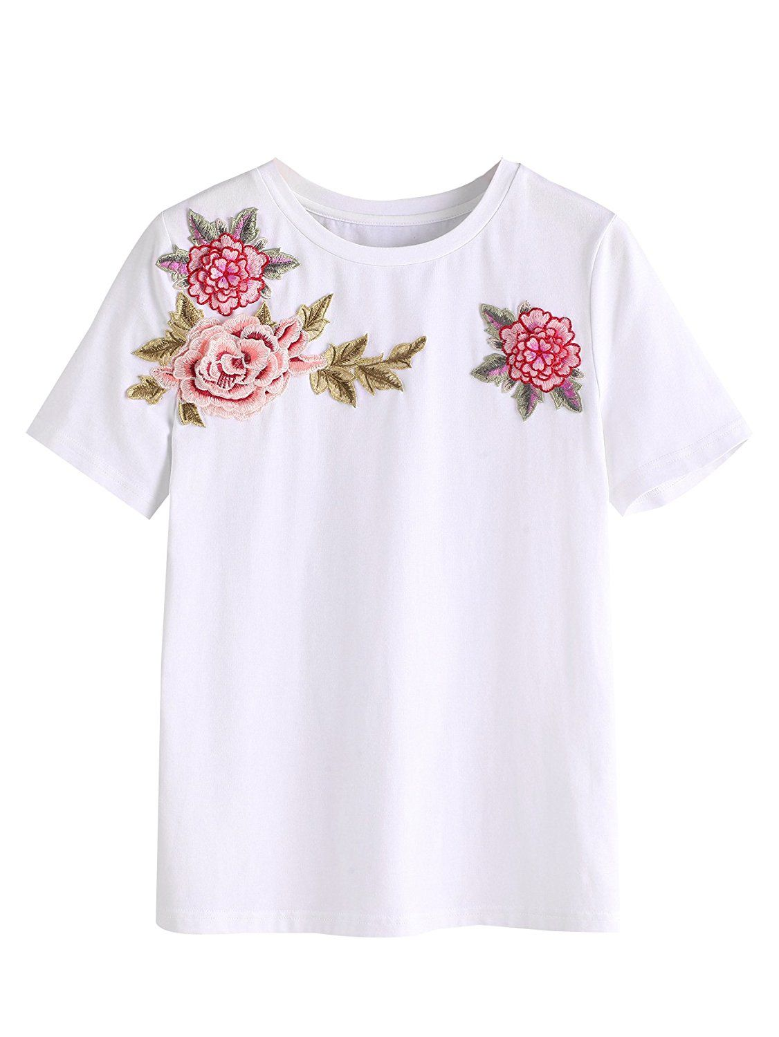 74bb5b40b38 SweatyRocks Women's Short Sleeve Floral Embroidered Cotton Casual T ...