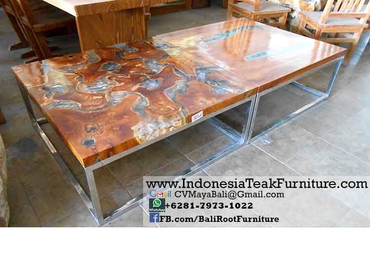 Indonesian teak furniture made of teak root wood and reclaimed teak  Rustic  furniture for indoor and outdoor made in Java and Bali by teak furniture  factory. TAR 2 Teak Acrylic Resin Coffee Table   Eye Catching Furniture