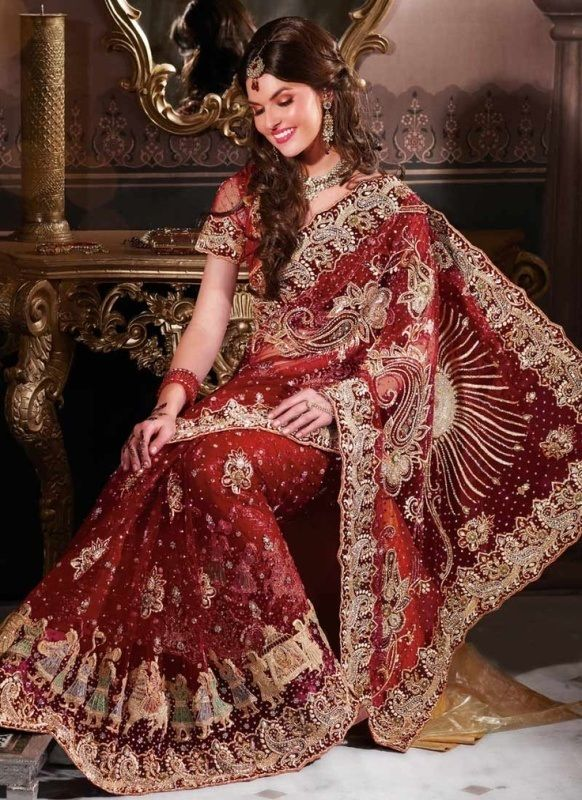 Maroon Net Bridal Saree 13707 With Unstitched Blouse