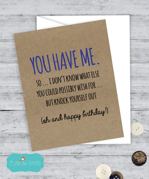 Birthday Card Boyfriend Funny Girlfriend By FlairandPaper