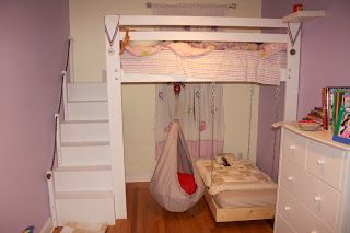 Diy Loft Bed Into Bunk Bed With A Hanging Ikea Ekorre Swing Kids