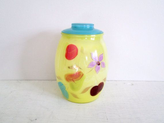 Pretty Vintage 1940's Handpainted Glass Canister by fivedimeshop