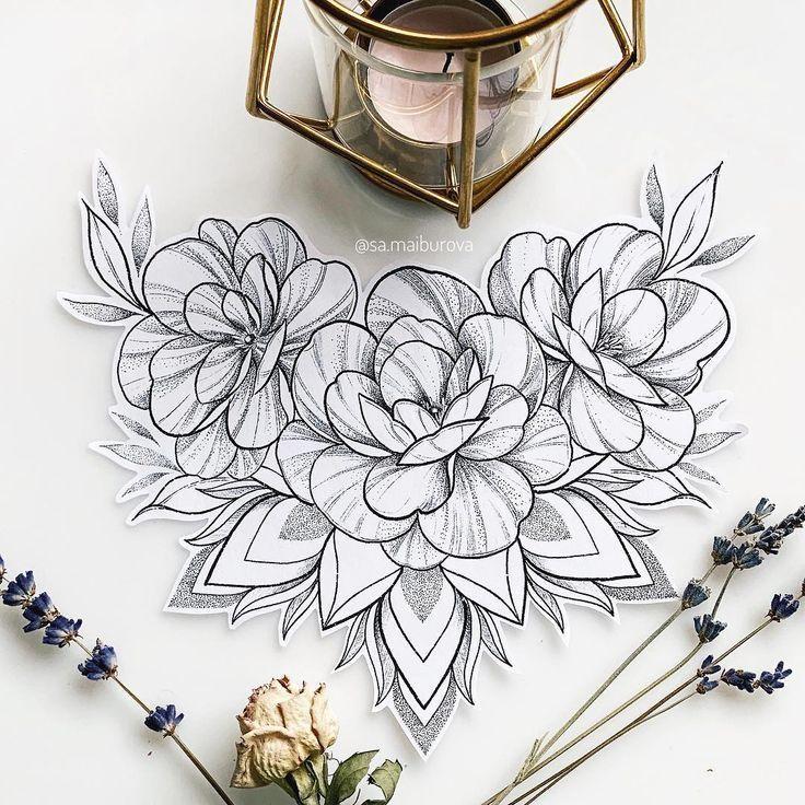 Цветочный дизайн на бедро или плечо ð - Tattoo MAG