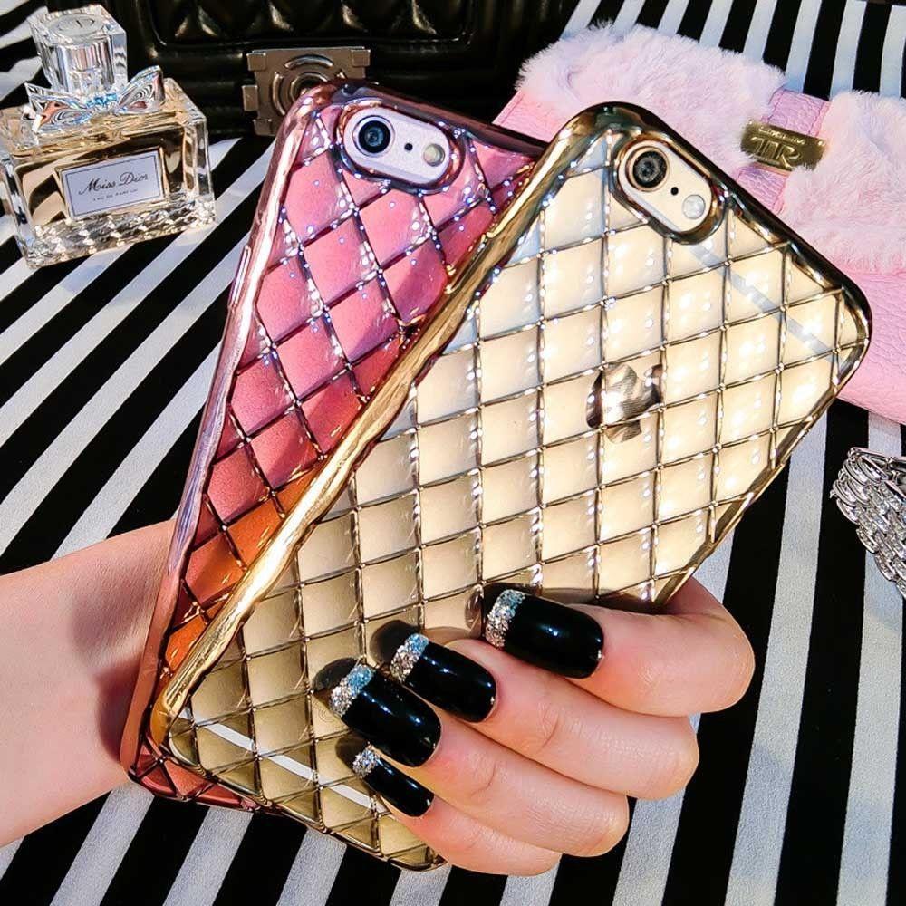For iPhone 7 Luxury Rhombic Electroplating Edge Gold Frame Case TPU Phone Cover #Yihailu