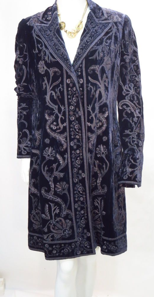 Elie Tahari Edwardian Embroidered Dark Blue Velvet Coat Jacket Dress * #ElieTahari #Coat