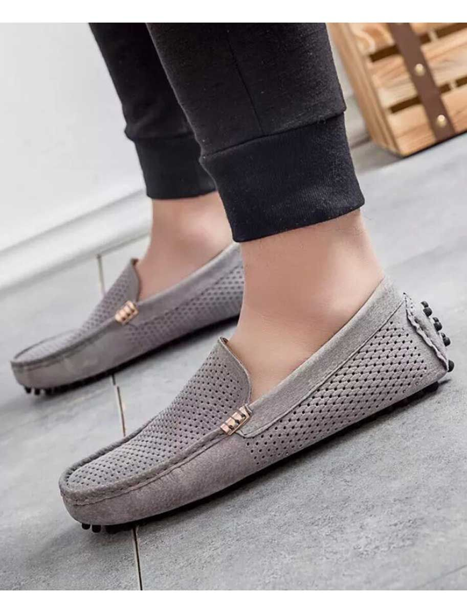 Grey leather hollow out slip on shoe loafer | Loafers, Mens slip on  loafers, Loafer shoes