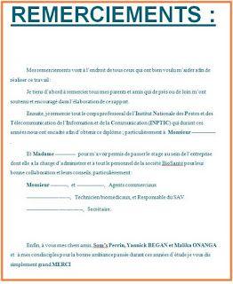 Format Word Doc De Modeles De Remerciement Pour Rapport De Stage A