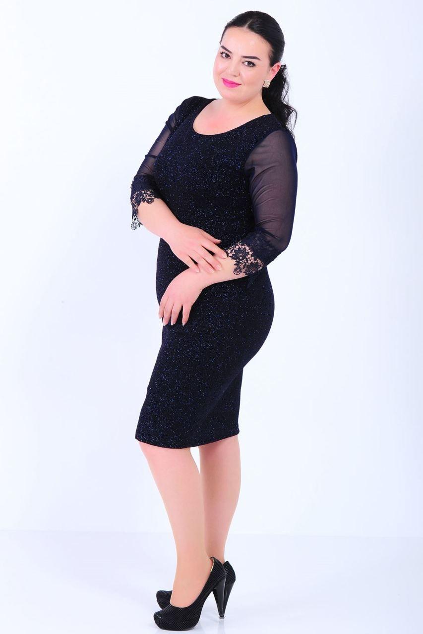 2b122100dacee Kol Uçları Dantelli Büyük Beden Simli Lacivert Elbise #giyim #indirim  #kampanya #bayan #erkek #bluz #gömlek #trençkot #hırka #etek #yelek #mont  #kaşe #kaban ...