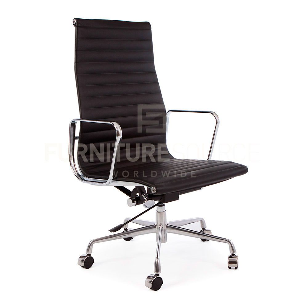 Eames Style Ribbed High Back Management Office Chair on Castors