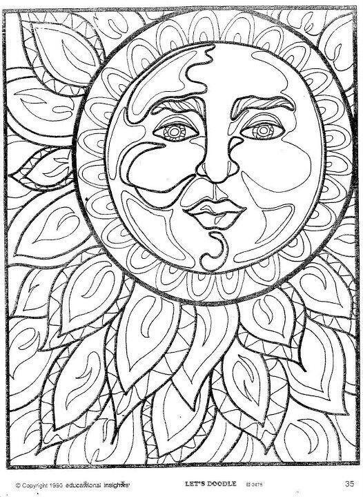 American Hippie Coloring Pages Art Psychedelic Sun Moon