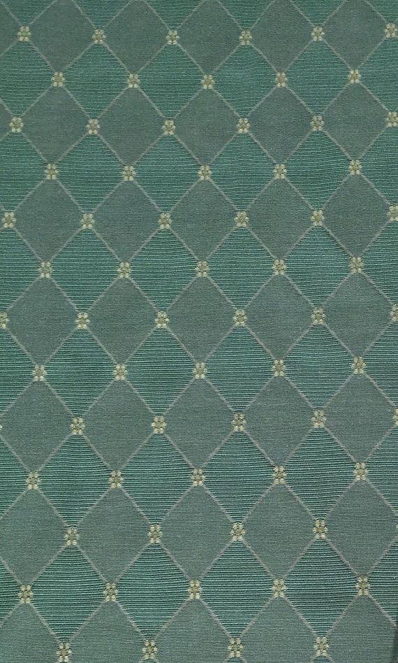 Classic Teal Diamond Pattern Upholstery Fabric By The