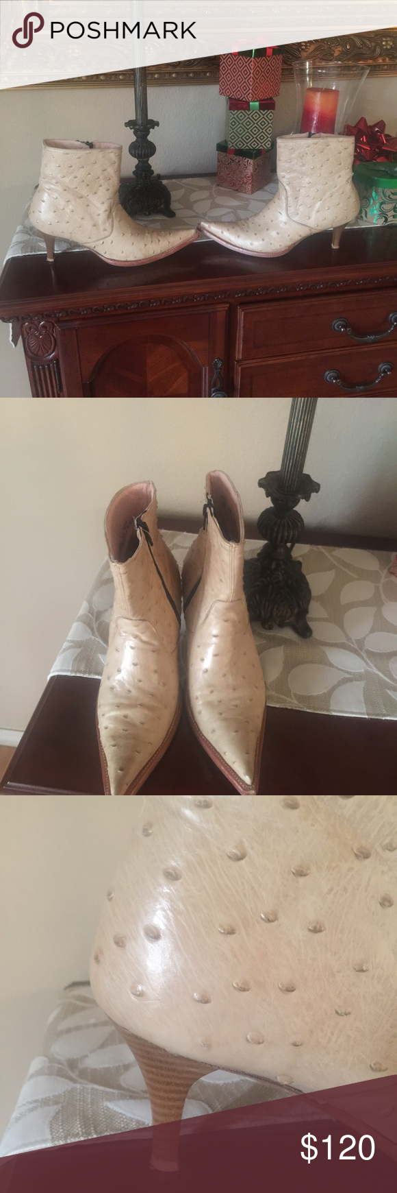 """Ostrich fine leather 3"""" heel boots Made in Mexico Shoes Ankle Boots & Booties"""