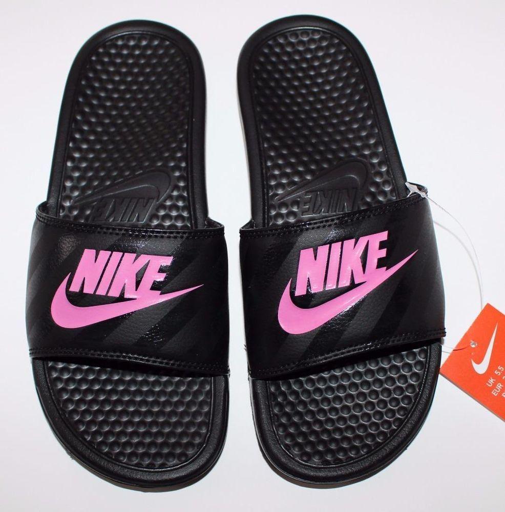 Nike Women's Benassi JDI Slide Sandals Black & Vivid Pink 343881