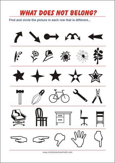 What does not belong? - Free printable Worksheet - Observation ...