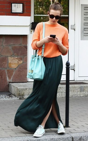 maxi skirt sporty look - Google Search | street style | Pinterest ...