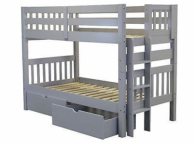 Bedz King Bunk Bed Twin Over End Ladder Gray Drawers 52080