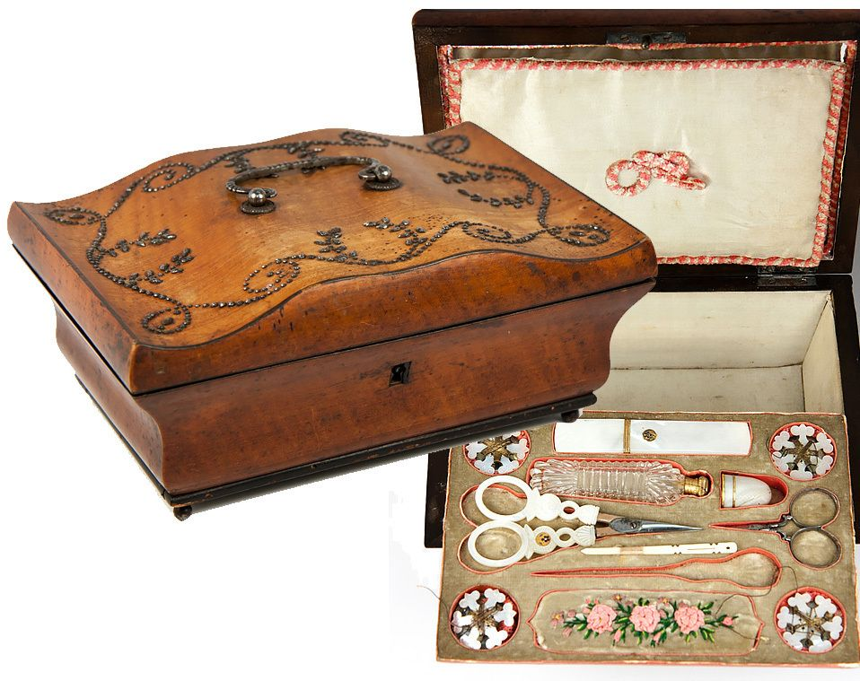 RARE Antique French Palais Royal Sewing Box, 18k Gold and Mother of Pearl Tools