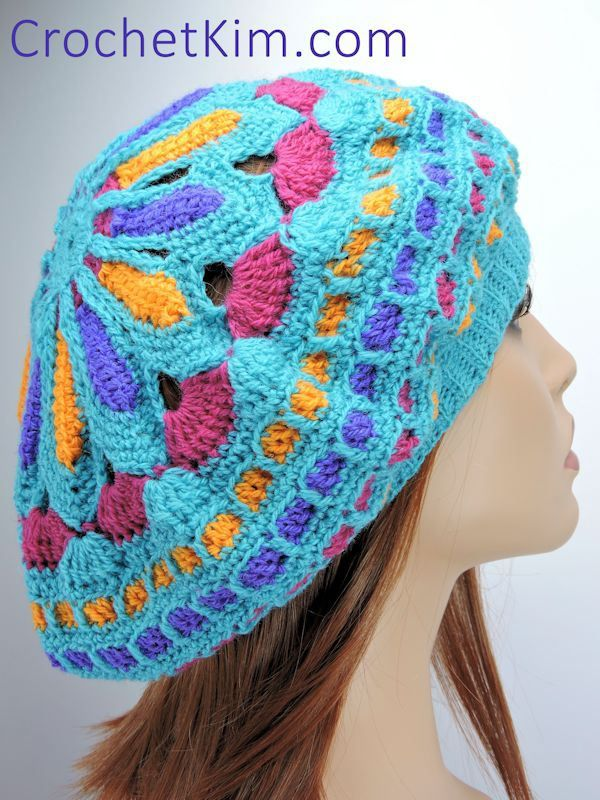 Turquoise Mandala Slouchie Beanie   Mütze, Wolle und Häkeln