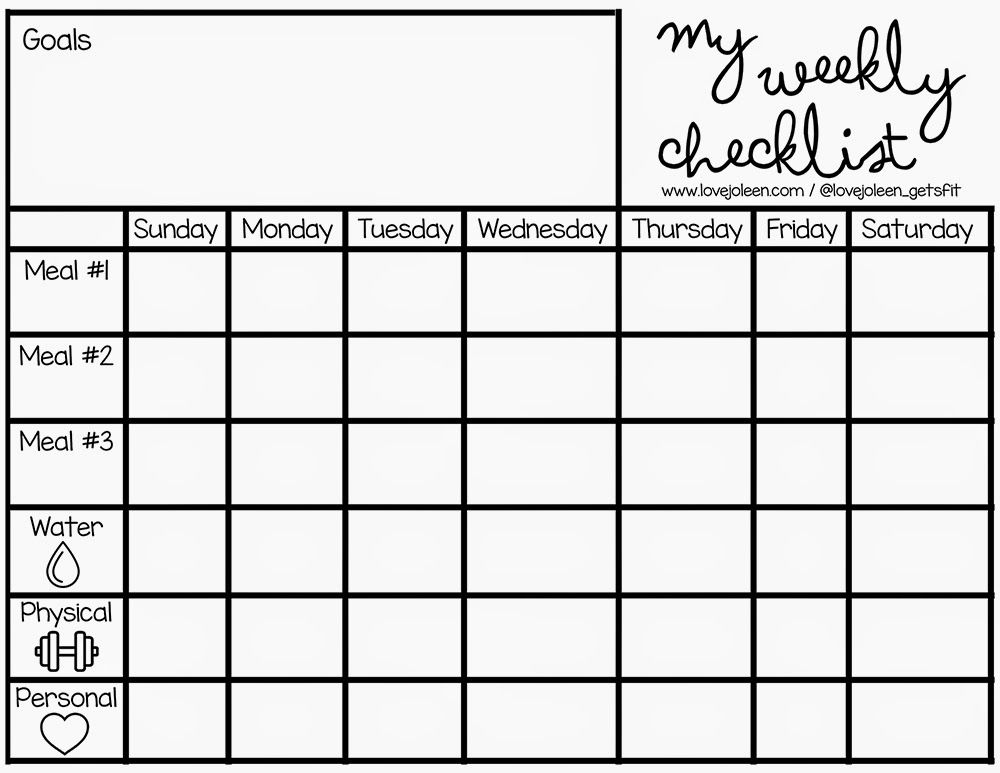 Love, Joleen 21 Day Challenge + a FREE Weekly Checklist Planner - weekly checklist