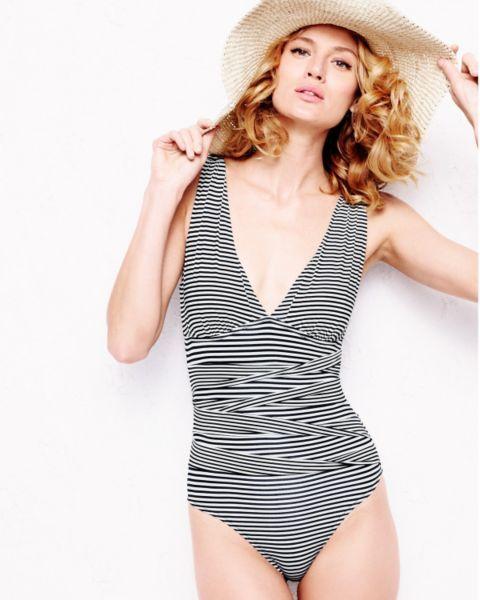 Garnet Hill Retro Ruched One-Piece Swimsuit