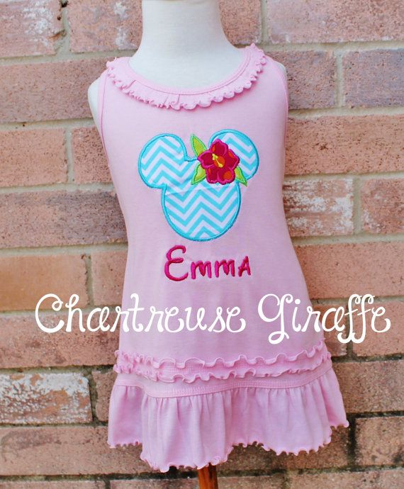 Personalized Hawaiian Luau Minnie Mouse on Light Pink Sleeveless Dress (size 12 months-girls 6x) Disney vacation shirt. Disney outfit. on Etsy, $28.00