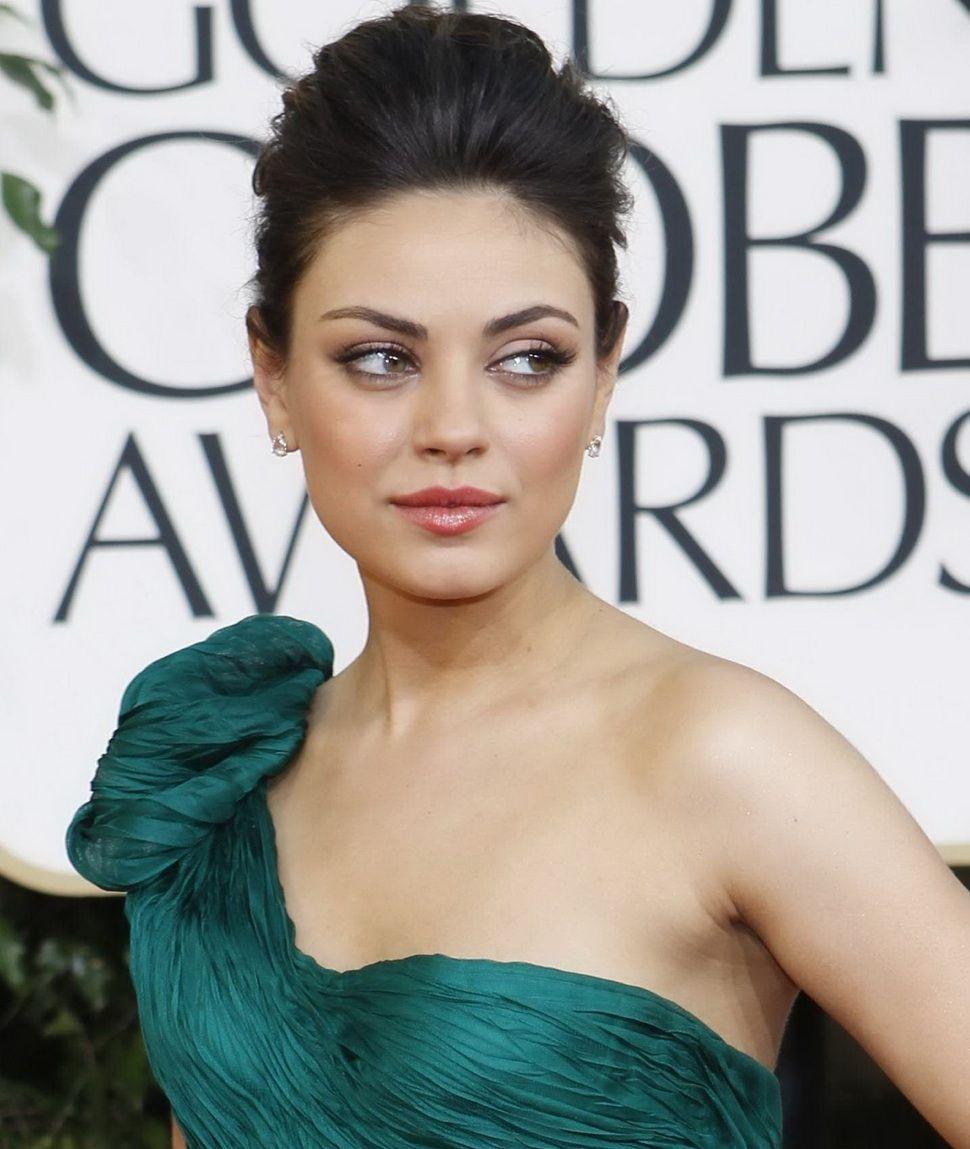 Mila kunis wedding dress  Hairstyles Mila Kunis  Golden Globes Pumped Back Delicate UpDo