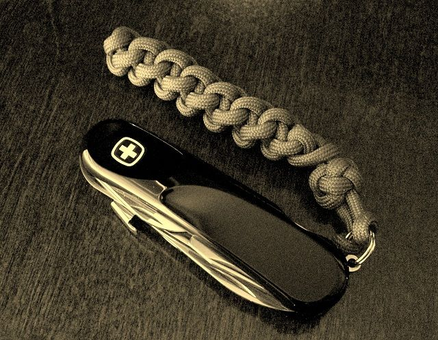 39 spring sinnet 39 used as a pocket knife fob for the wenger for Knife lanyard ideas