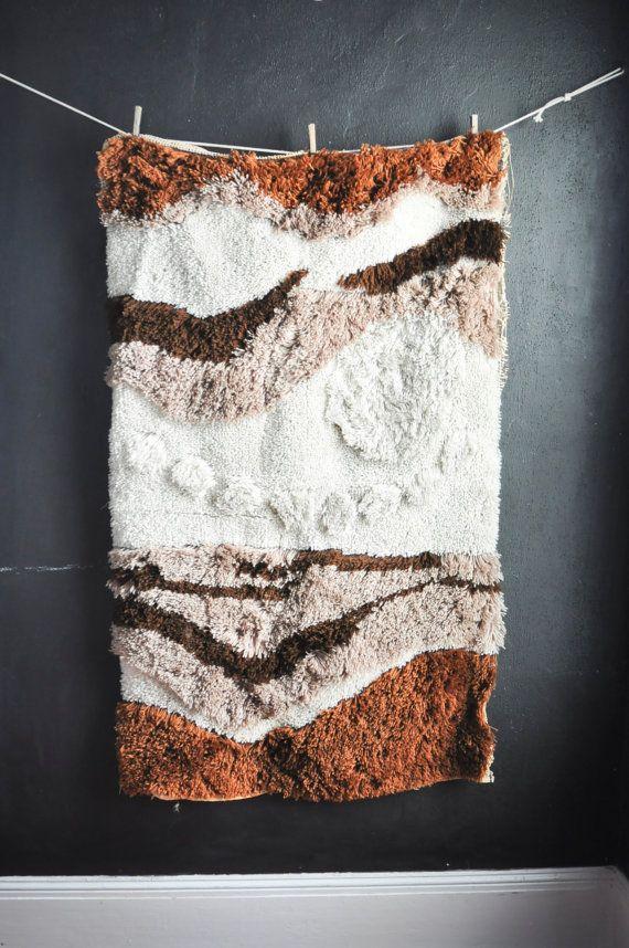 Vintage Huge Latch Hook Rug Wall Hanging Tapestry By