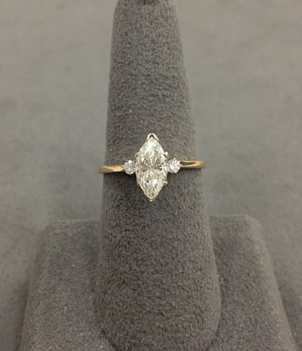 14k Yellow Gold Marquise Diamond Engagement Ring 100 166 Marquise Diamond Engagement Ring Wedding Rings Vintage Engagement Rings Marquise