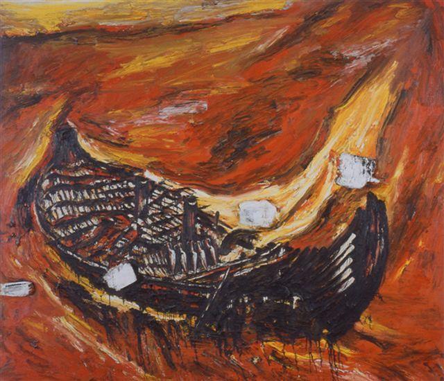 Enzo Cucchi, La deriva del vaso, 1984-85, olio su tela, cm 280 x 320