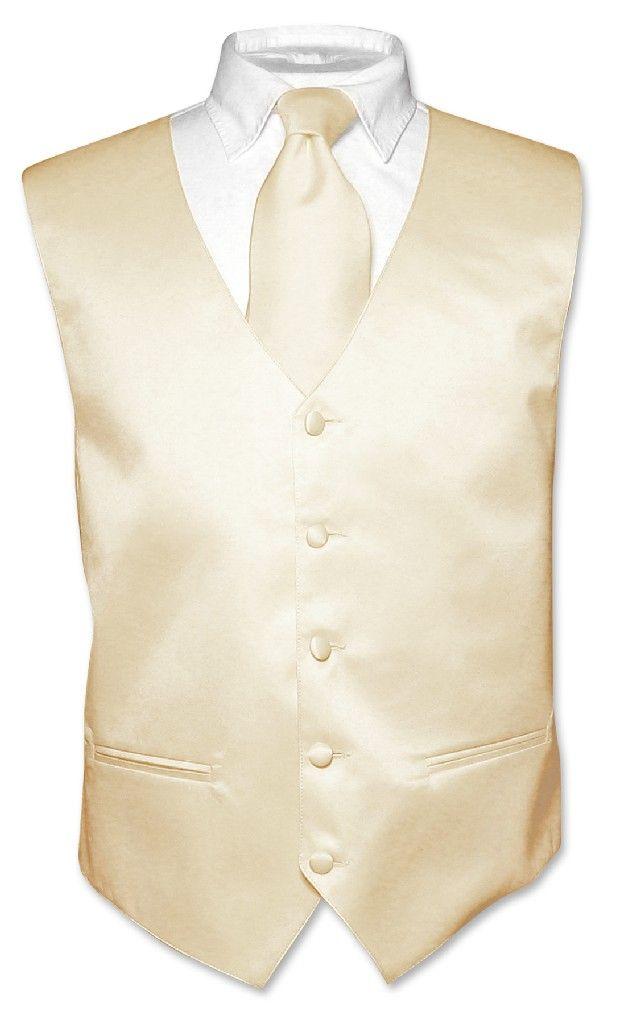 Men's Dress Vest & NeckTie Solid Light BROWN Color Neck Tie Set for Suit or Tux