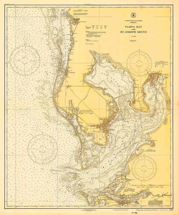 Map Of Tampa Bay Florida.1928 Nautical Chart Of Tampa Bay Tampa Florida Map Tampa Bay