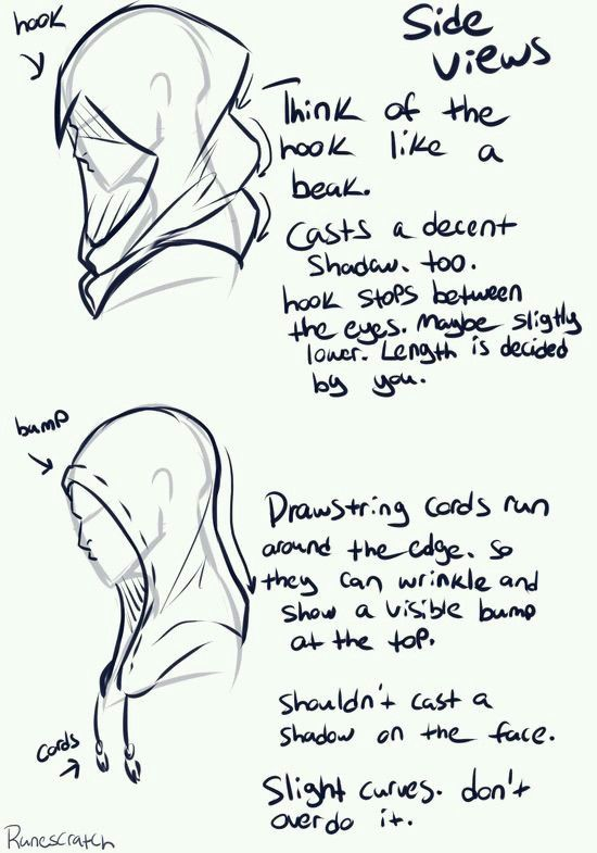 Tela Una capucha de perfil y sus pliegues  Cabello  Pinterest