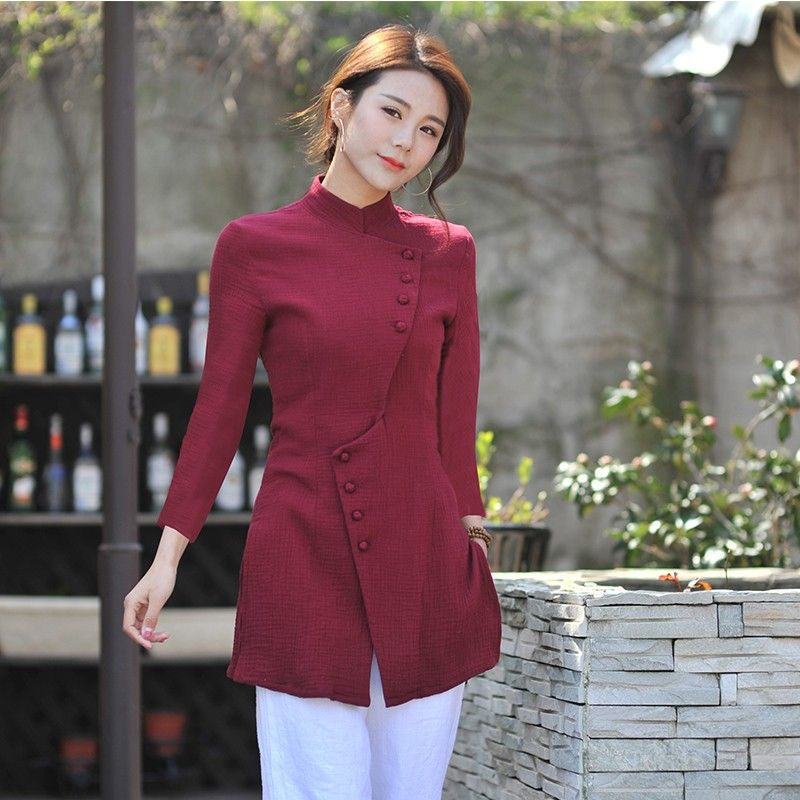 0bc2651ec03 Delightful Cotton Flax Modern Chinese Blouse - Claret - Chinese Shirts &  Blouses - Women