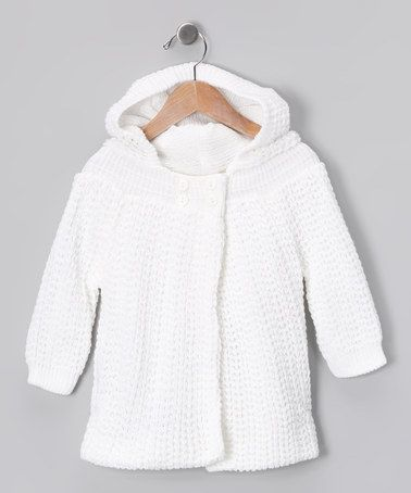 Take a look at this Tots Fifth Avenue White Knit Button-Up Hoodie by All Bundled Up Collection on #zulily today!