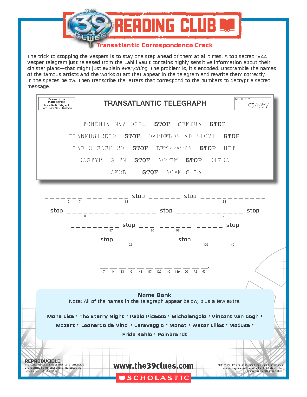 Free The 39 Clues Reading Club Code Cracking Activity Sheet