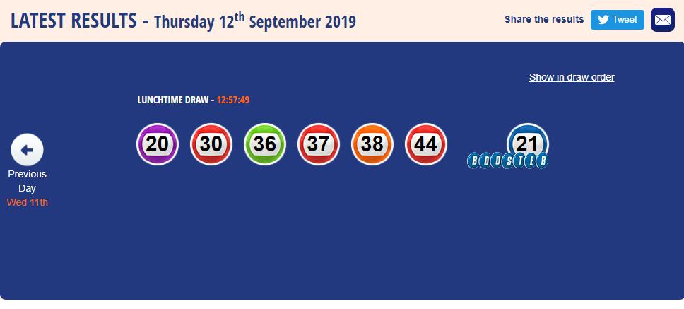 UK 49S TeaTime RESULT 12 September 2019 Tea time, Lottery