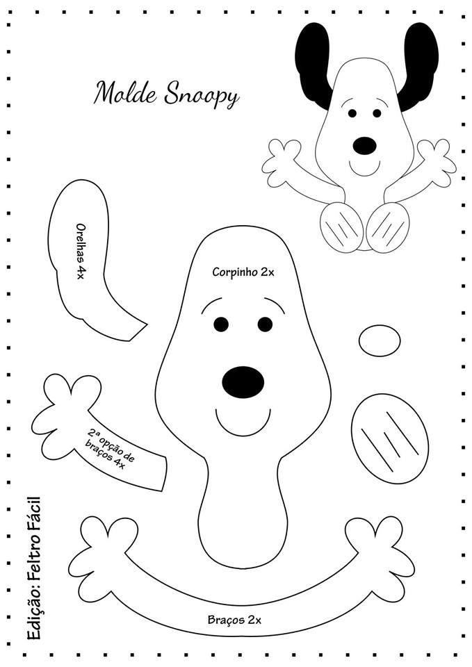 Moldes gratis para imprimir de Snoopy en fieltro. | Ideas ...