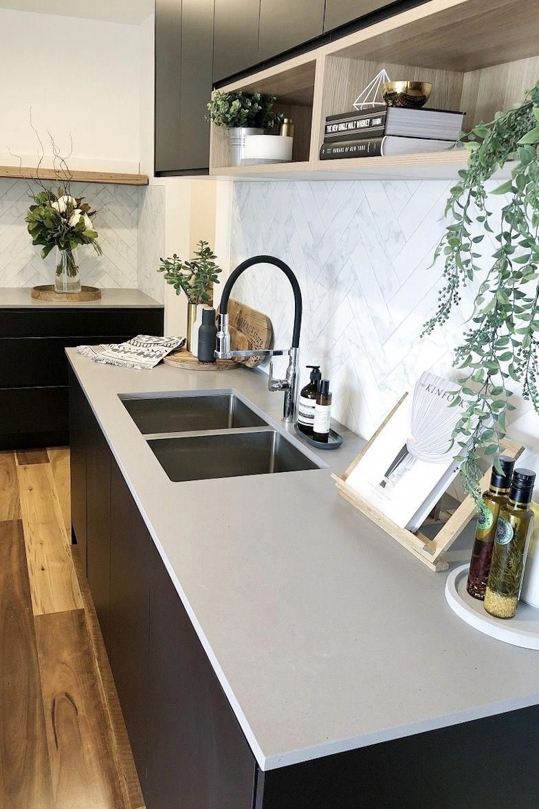 Bar outside kitchen window  matte black and timber accent kitchen concrete look kitchen bench