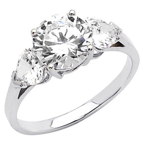 Amazing White Gold Round cut Three Stone CZ Cubic Zirconia Ladies Engagement Rings Size I like the shape and simplicity