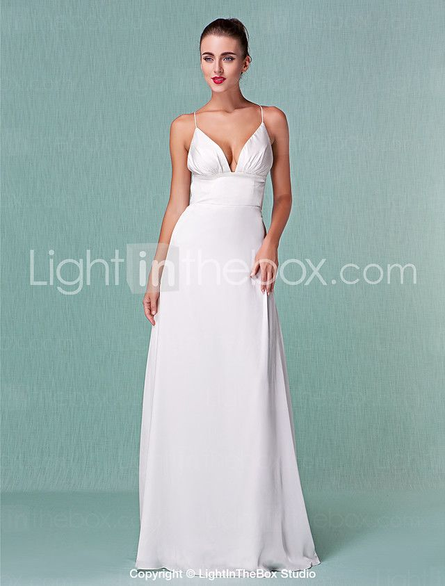 Sheath / Column Plunging Neck Floor Length Chiffon Made-To-Measure ...