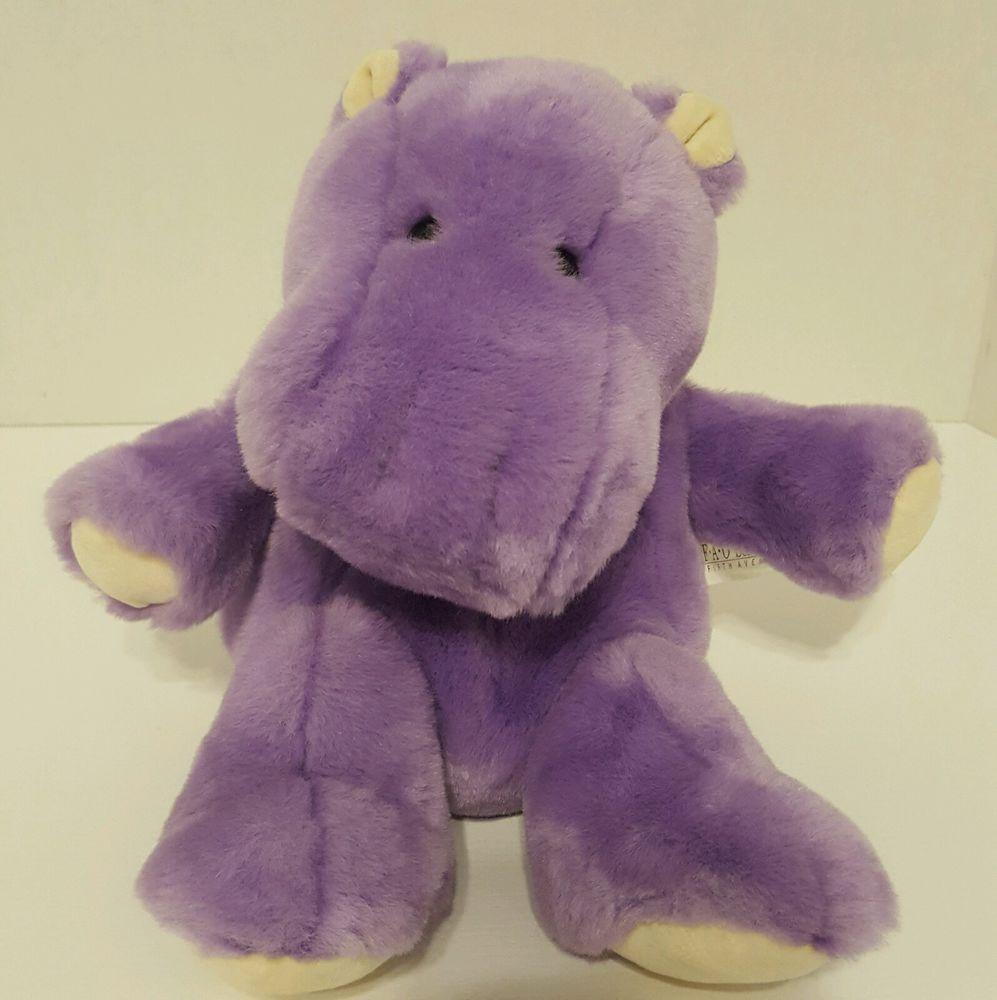 Fao Schwarz Fifth Avenue Purple Hippo Hippopotamus Plush Stuffed