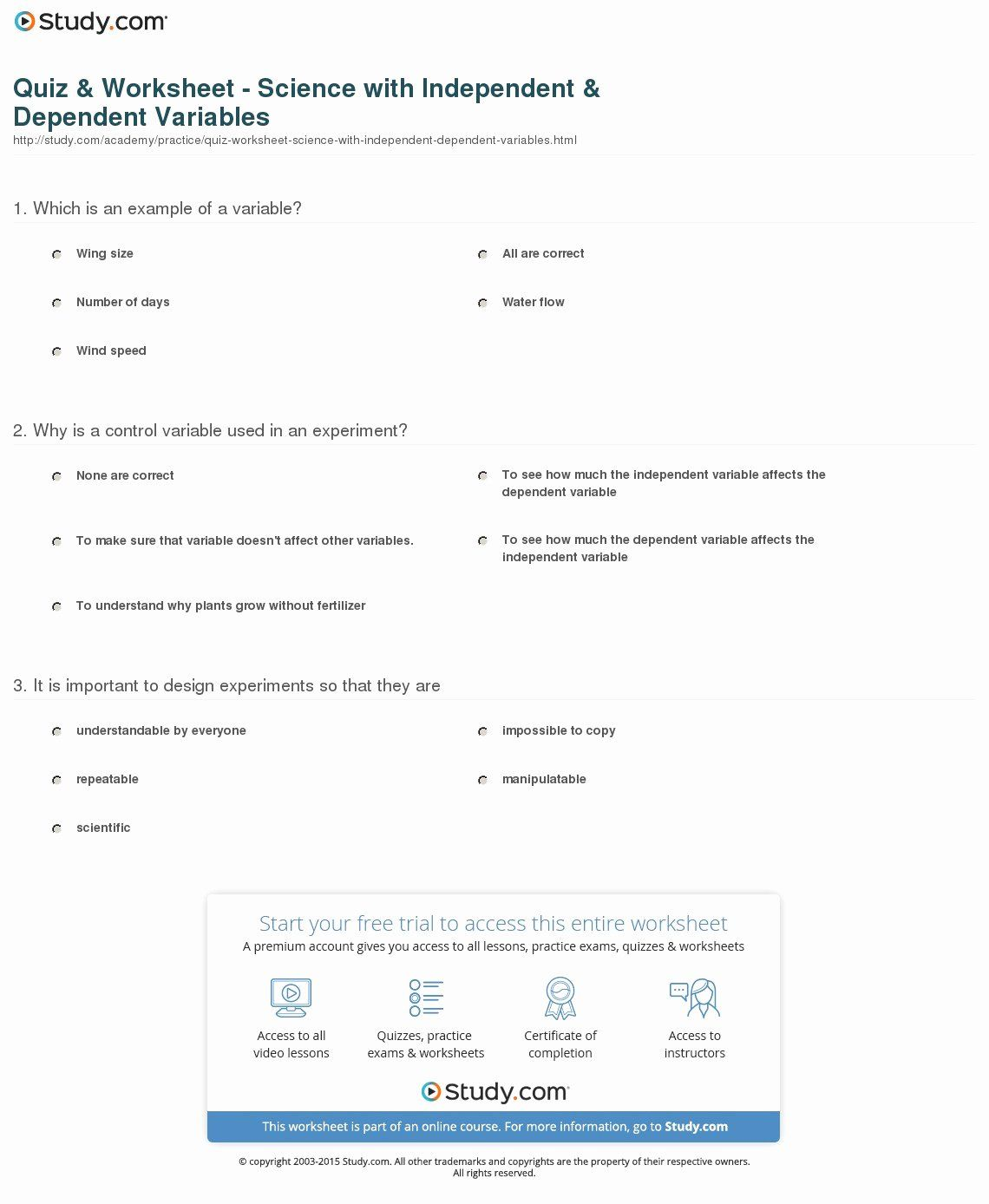 Dependent And Independent Variables Worksheet Fresh Quiz